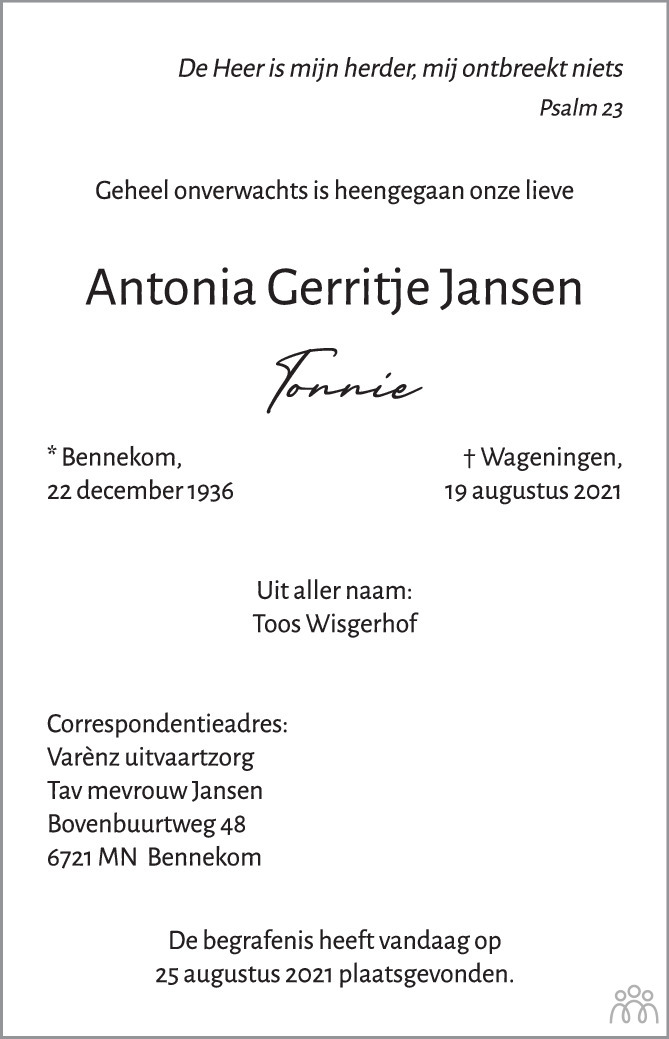 Overlijdensbericht van Antonia Gerritje (Tonnie) Jansen in Wageningen / Bennekom / Renkum Cominatie