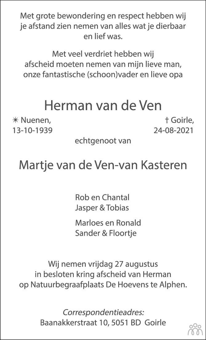 Overlijdensbericht van Herman van de Ven in Brabants Dagblad