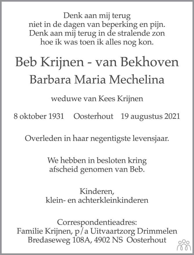 Overlijdensbericht van Beb (Barbara Maria Mechelina) Krijnen-van Bekhoven in BN DeStem