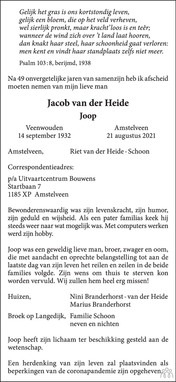 Overlijdensbericht van Jacob (Joop) van der Heide in Trouw