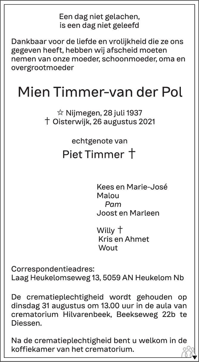 Overlijdensbericht van Mien Timmer-van der Pol in de Gelderlander