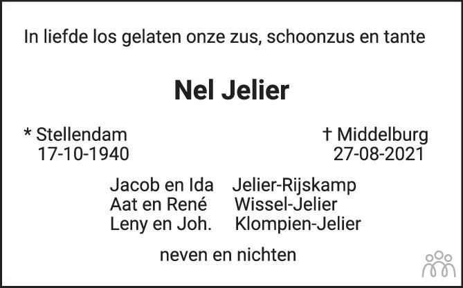 Overlijdensbericht van Nel Jelier in PZC Provinciale Zeeuwse Courant
