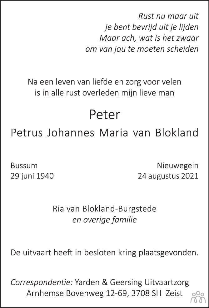 Overlijdensbericht van Peter (Petrus Johannes Maria) van Blokland in De Nieuwsbode