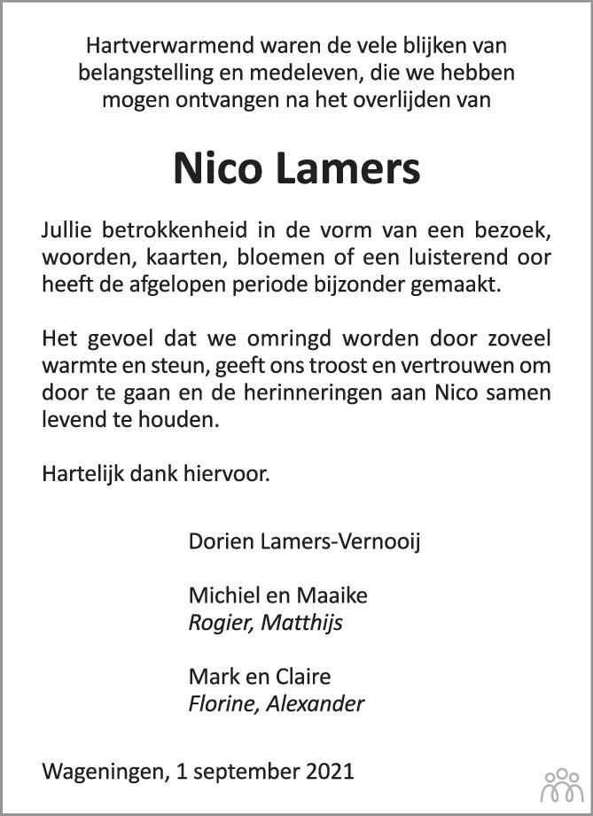 Overlijdensbericht van Nico Lamers in Wageningen / Bennekom / Renkum Cominatie
