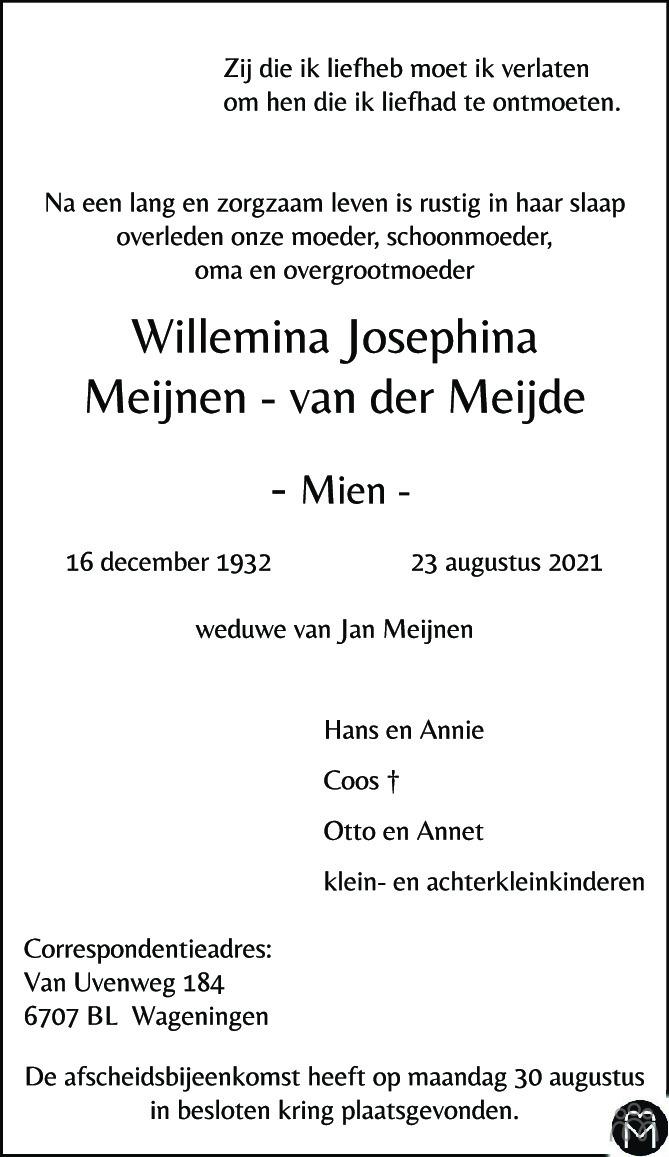 Overlijdensbericht van Willemina Josephina (Mien) Meijnen-van der Meijde in Wageningen / Bennekom / Renkum Cominatie