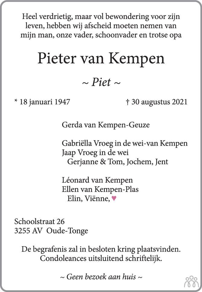 Overlijdensbericht van Pieter (Piet) van Kempen in AD Algemeen Dagblad