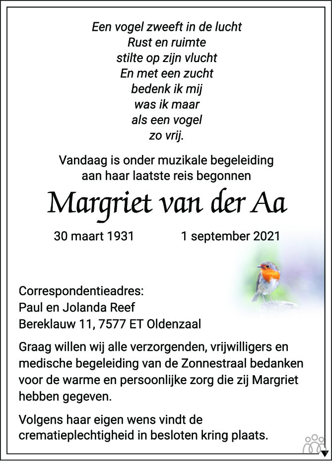Overlijdensbericht van Margriet van der Aa in Tubantia