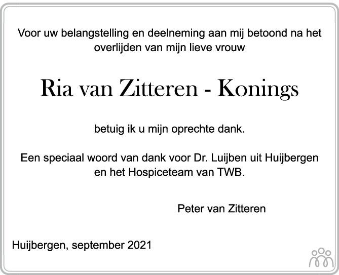 Overlijdensbericht van Ria van Zitteren-Konings in BN DeStem
