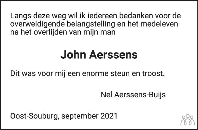 Overlijdensbericht van Josephus Johannes (John) Aerssens in PZC Provinciale Zeeuwse Courant