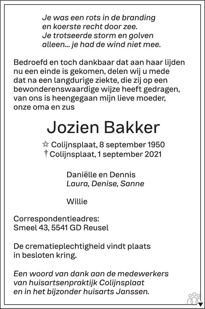 Overlijdensbericht van Jozien Bakker in PZC Provinciale Zeeuwse Courant