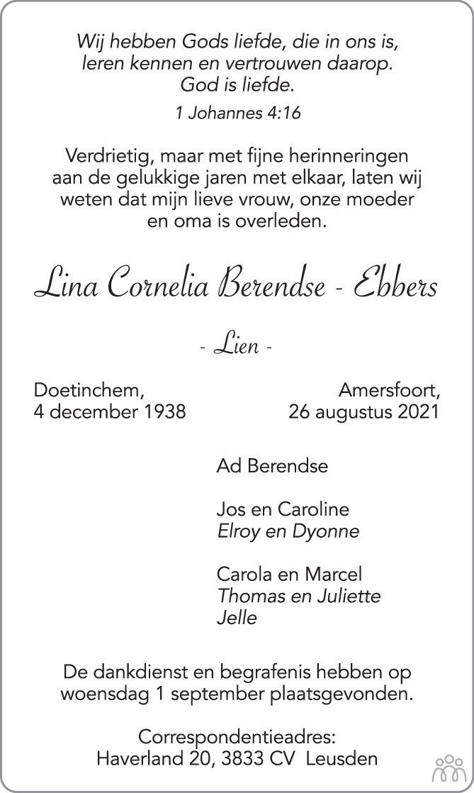 Overlijdensbericht van Lina Cornelia (Lien) Berendse-Ebbers in AD Algemeen Dagblad
