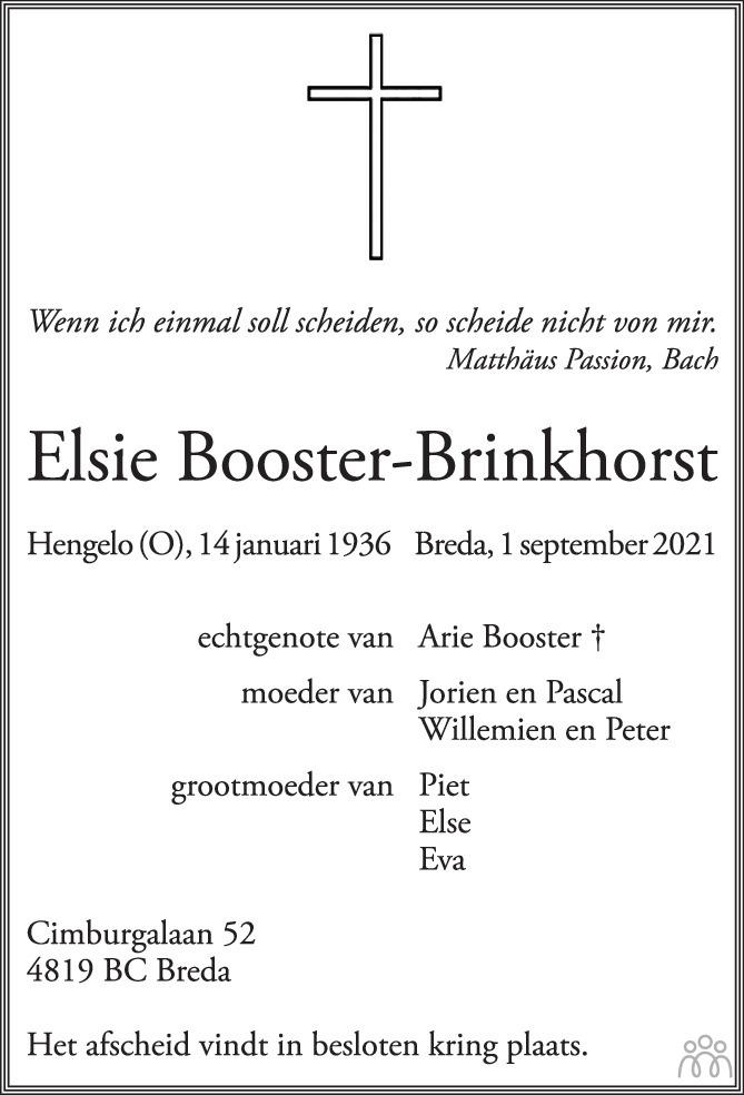 Overlijdensbericht van Elsie Booster-Brinkhorst in Brabants Dagblad