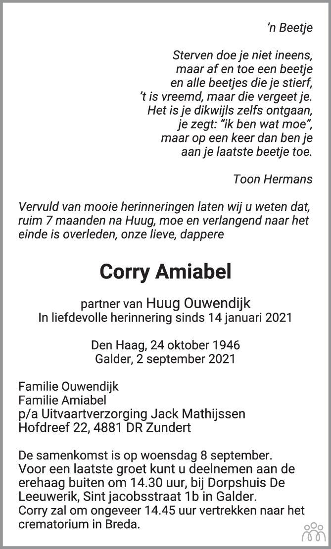 Overlijdensbericht van Corry Amiabel in BN DeStem