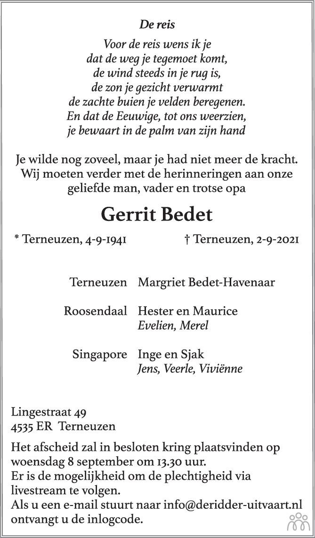 Overlijdensbericht van Gerrit Bedet in PZC Provinciale Zeeuwse Courant