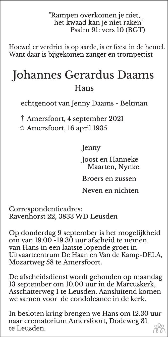 Overlijdensbericht van Johannes Gerardus (Hans) Daams in AD Algemeen Dagblad