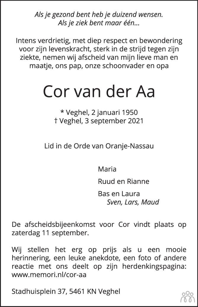 Overlijdensbericht van Cor van der Aa in Brabants Dagblad