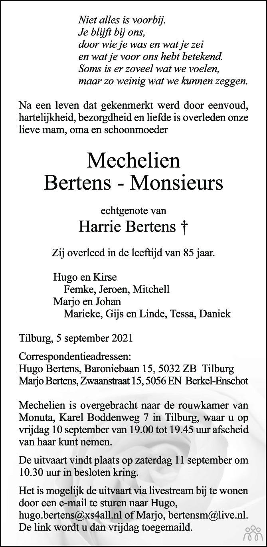 Overlijdensbericht van Mechelien Bertens-Monsieurs in Brabants Dagblad