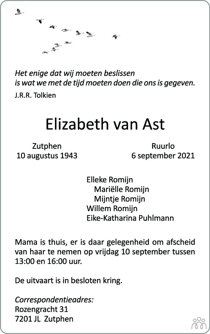 Overlijdensbericht van Elizabeth van Ast in de Stentor