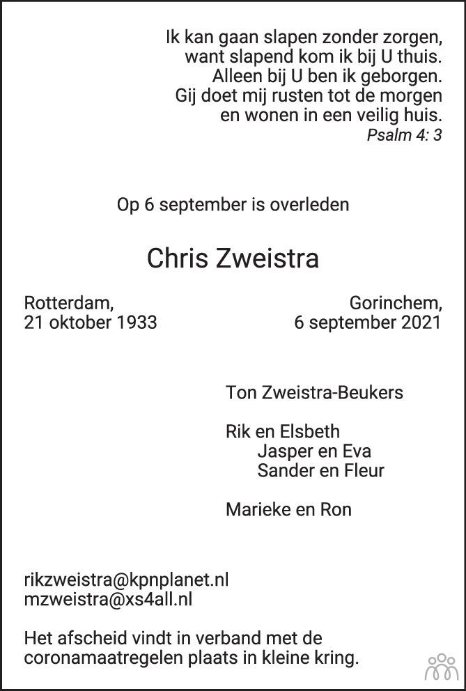 Overlijdensbericht van Chris Zweistra in PZC Provinciale Zeeuwse Courant