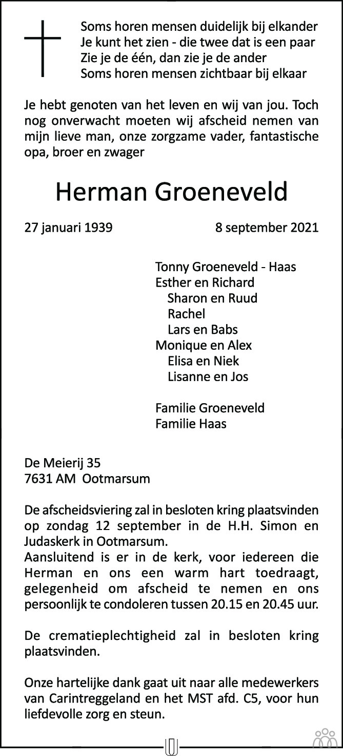 Overlijdensbericht van Herman Groeneveld in Tubantia