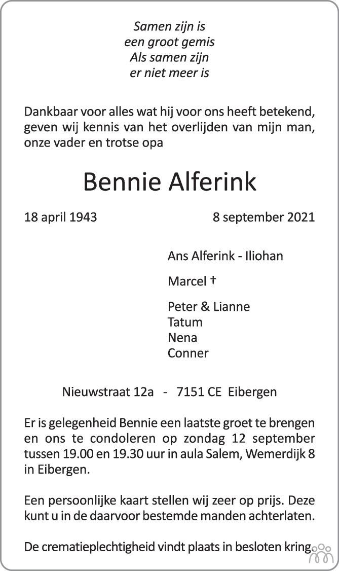 Overlijdensbericht van Bennie Alferink in Tubantia