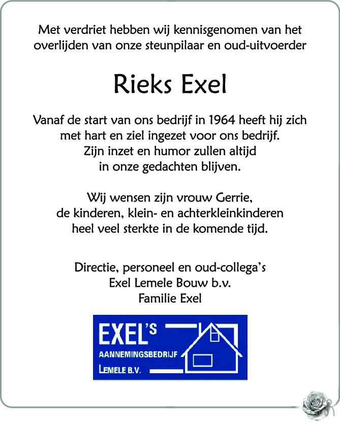 Overlijdensbericht van Rieks (Hendrikus) Exel in de Stentor