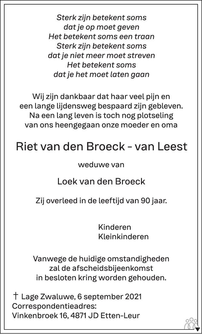 Overlijdensbericht van Riet van den Broeck-van Leest in BN DeStem