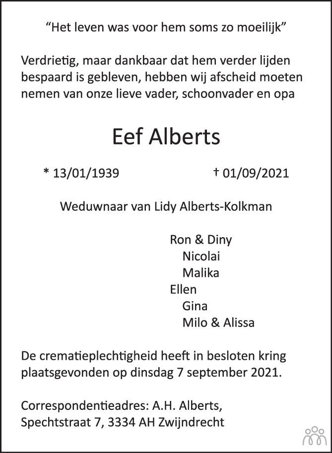 Overlijdensbericht van Eef Alberts in de Stentor