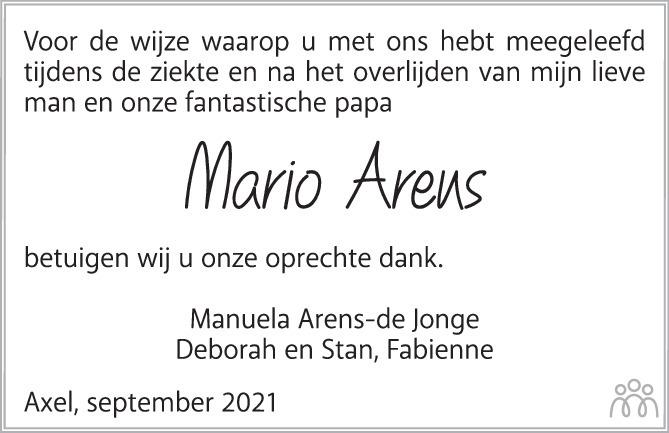 Overlijdensbericht van Mario Arens in PZC Provinciale Zeeuwse Courant