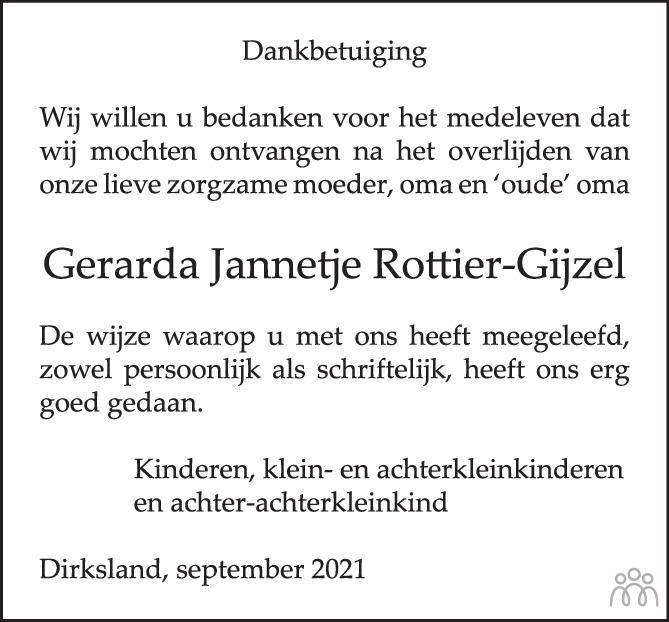 Overlijdensbericht van Gerarda Jannetje Rottier-Gijzel in PZC Provinciale Zeeuwse Courant