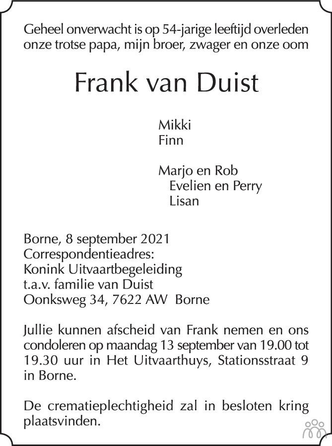 Overlijdensbericht van Frank van Duist in Tubantia