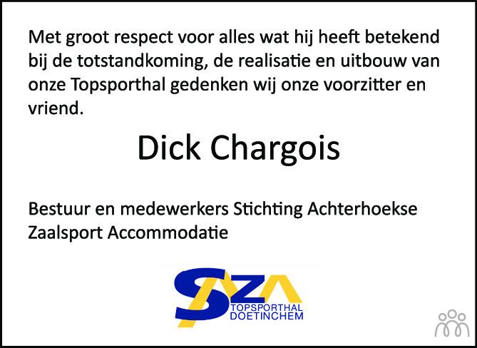 Overlijdensbericht van Dick Chargois in de Gelderlander