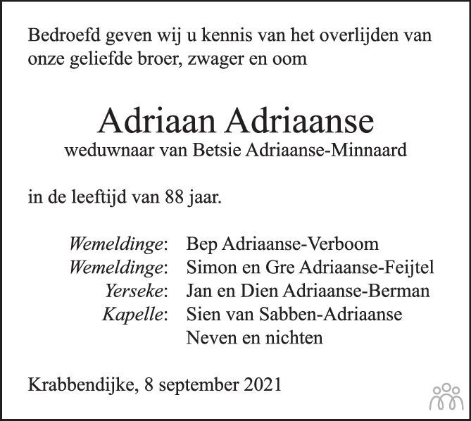 Overlijdensbericht van Adriaan Adriaanse in PZC Provinciale Zeeuwse Courant