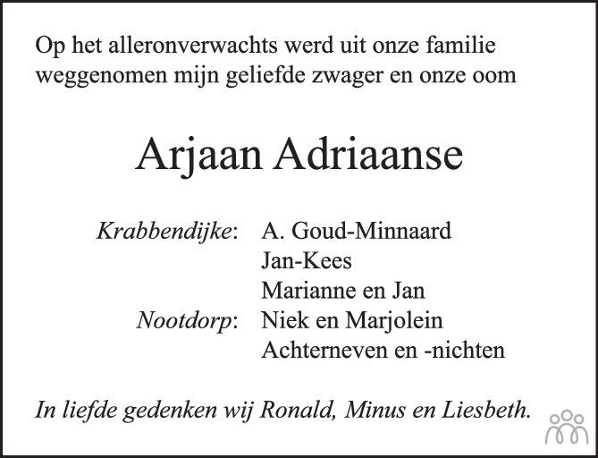 Overlijdensbericht van Arjaan Adriaanse in PZC Provinciale Zeeuwse Courant
