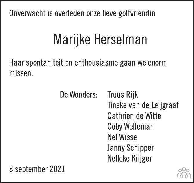 Overlijdensbericht van Marijke Herselman-Burger in PZC Provinciale Zeeuwse Courant