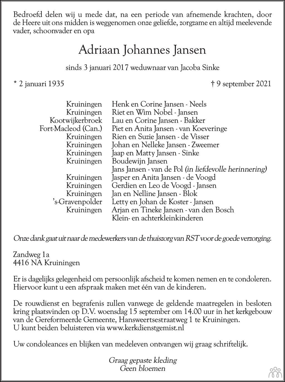 Overlijdensbericht van Adriaan Johannes Jansen in PZC Provinciale Zeeuwse Courant