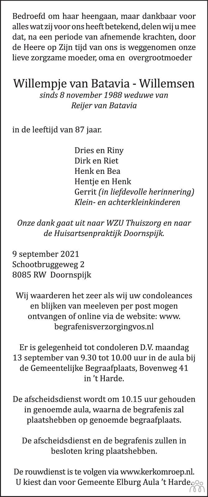 Overlijdensbericht van Willempje van Batavia-Willemsen in de Stentor