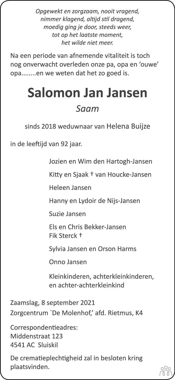 Overlijdensbericht van Salomon Jan (Saam) Jansen in PZC Provinciale Zeeuwse Courant