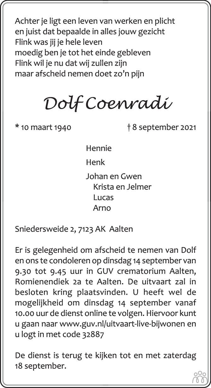 Overlijdensbericht van Dolf Coenradi in de Gelderlander