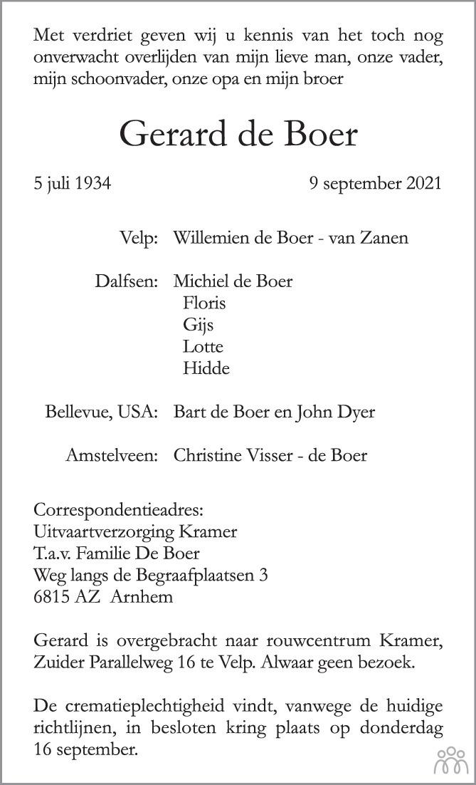 Overlijdensbericht van Gerard de Boer in de Gelderlander