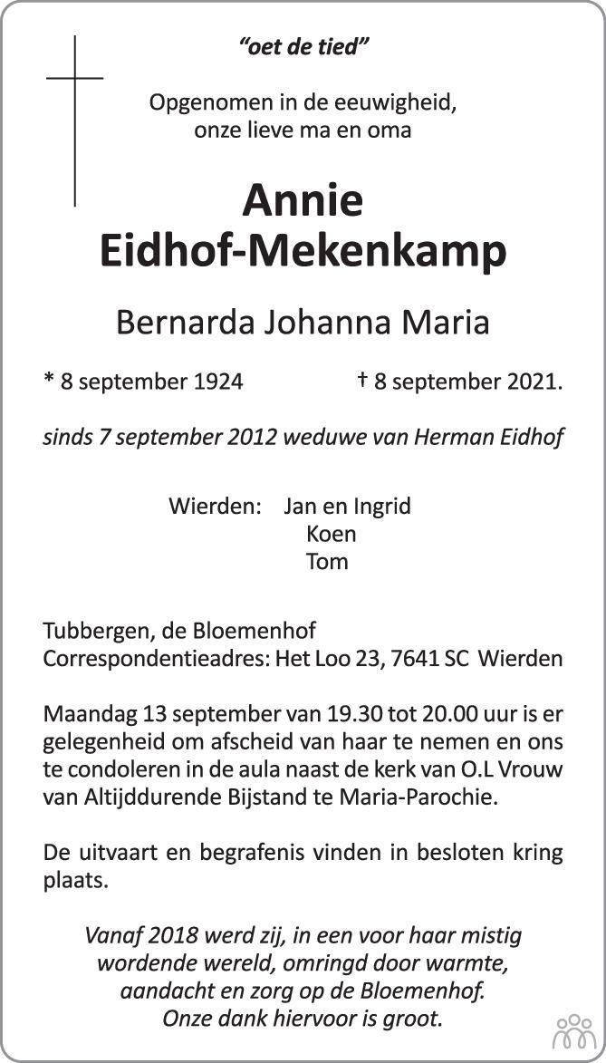 Overlijdensbericht van Annie (Bernarda Johanna Maria) Eidhof-Mekenkamp in Tubantia