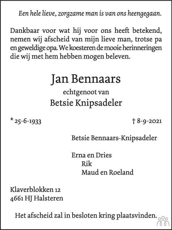 Overlijdensbericht van Jan Bennaars in BN DeStem