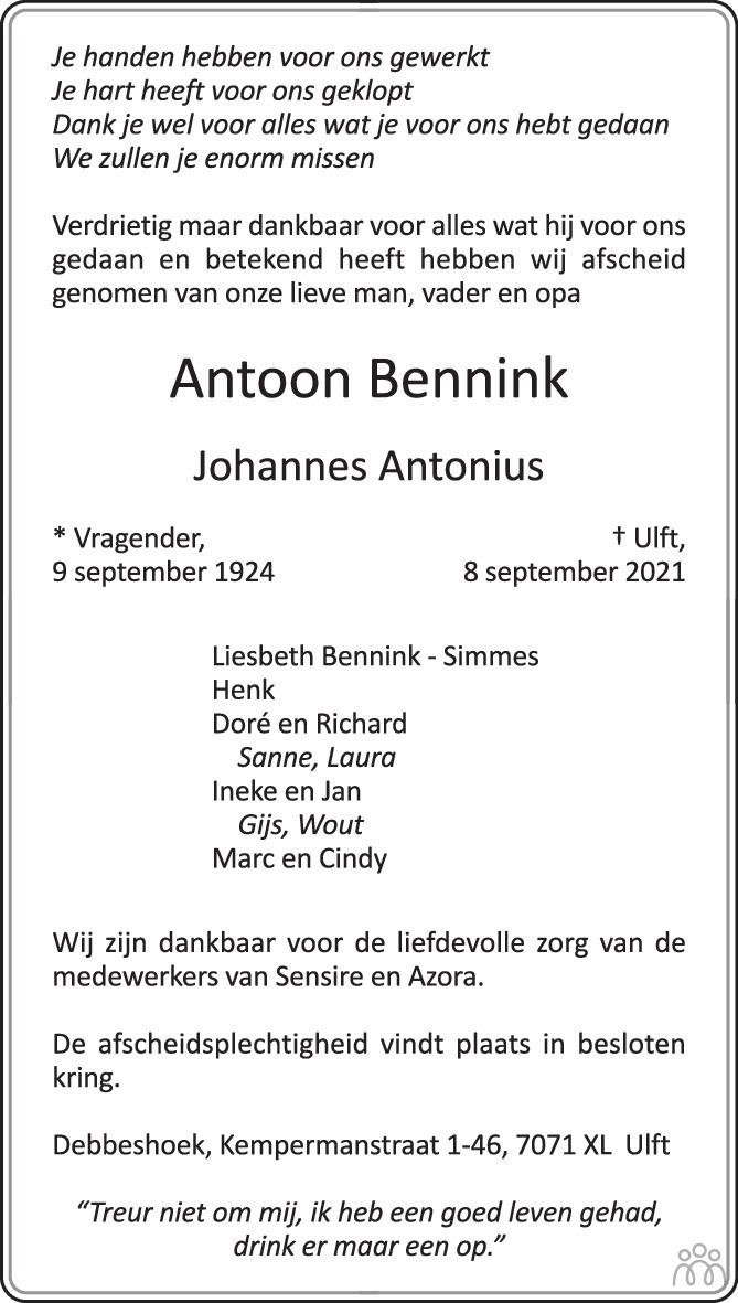 Overlijdensbericht van Antoon (Johannes Antonius) Bennink in de Gelderlander