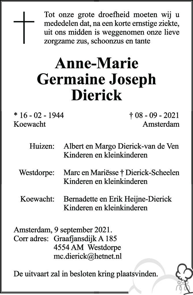 Overlijdensbericht van Anne-Marie Germaine Josef Dierick in PZC Provinciale Zeeuwse Courant