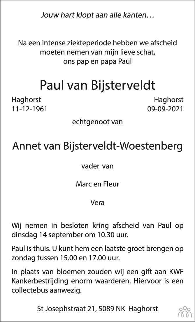 Overlijdensbericht van Paul van Bijsterveldt in Brabants Dagblad