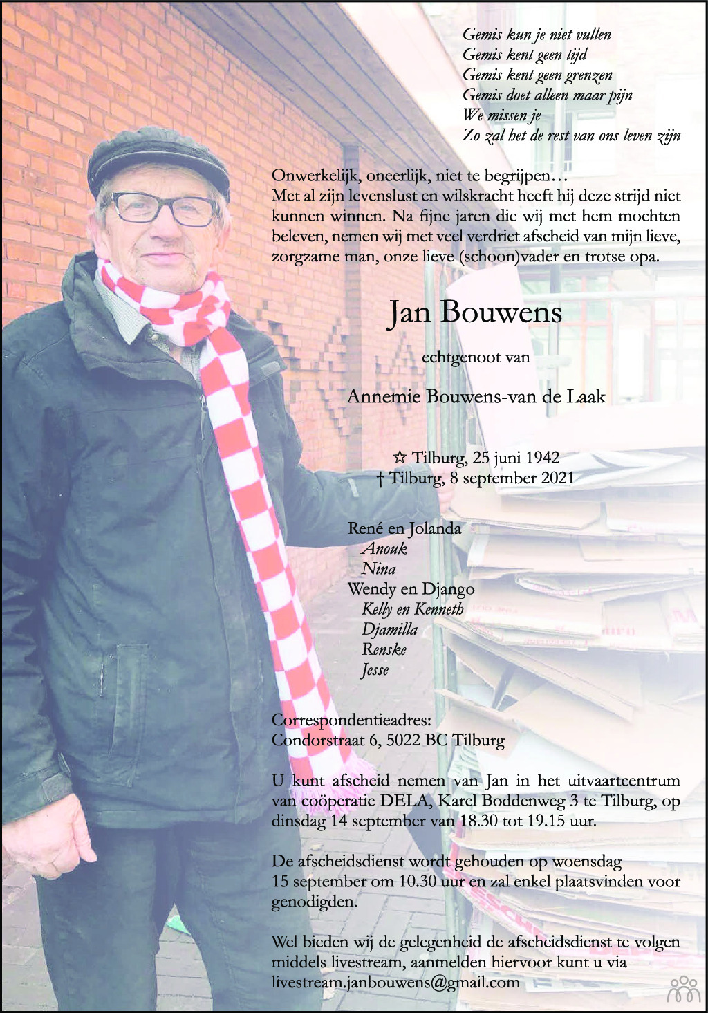 Overlijdensbericht van Jan Bouwens in Brabants Dagblad