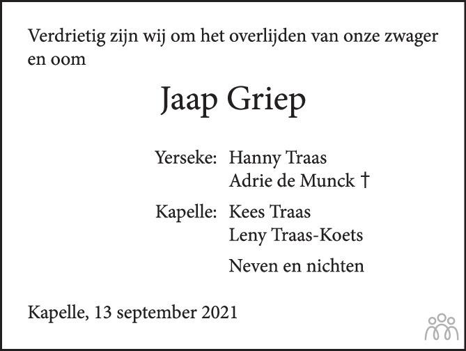 Overlijdensbericht van Jaap Griep in PZC Provinciale Zeeuwse Courant