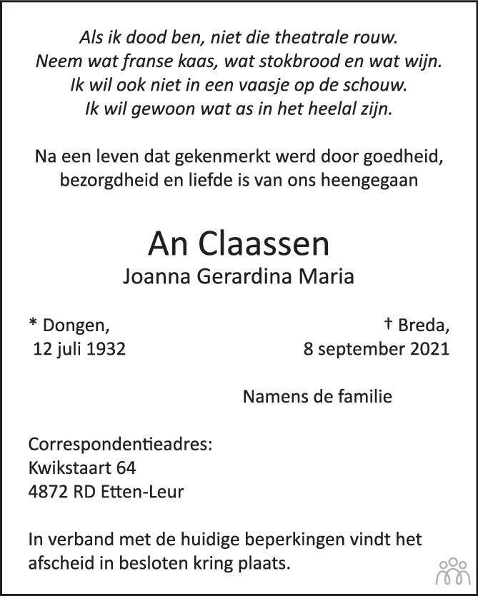 Overlijdensbericht van Joanna Gerardina Maria (An) Claassen in BN DeStem
