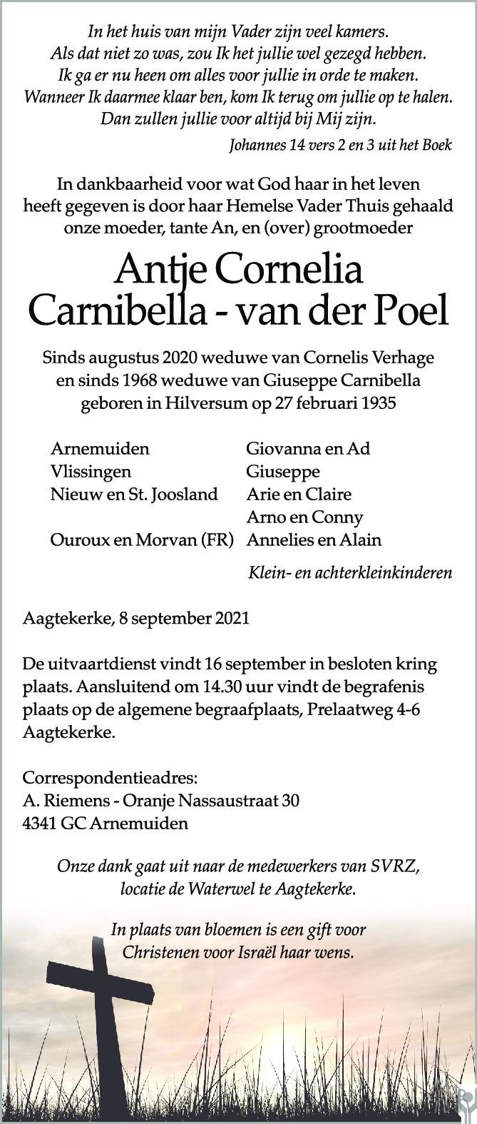 Overlijdensbericht van Antje Cornelia Carnibella-van der Poel in PZC Provinciale Zeeuwse Courant