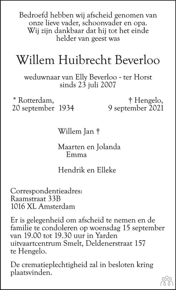 Overlijdensbericht van Willem Huibrecht Beverloo in Tubantia
